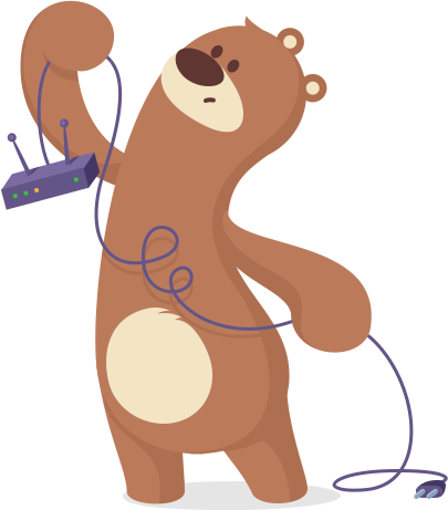 Bear with unplugged modem icon